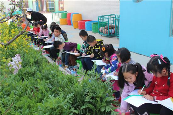 """潍坊钢城钢城现代幼儿园""""拥抱春天""""主题写生活动"""